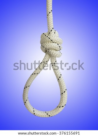 Rope with knot and loop against blue background - stock photo