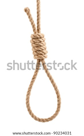 rope with knot for suicide isolated on white background