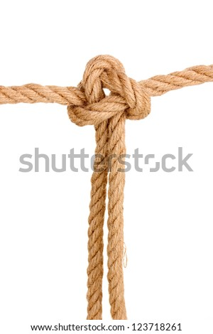 Rope with knot isolated on white - stock photo