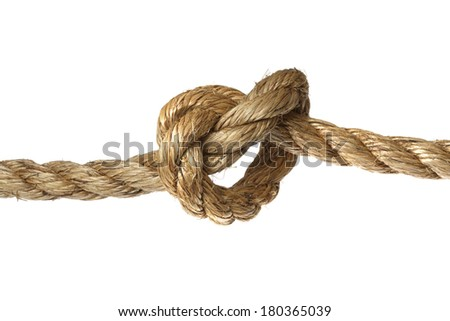 Rope with knot on white background - stock photo