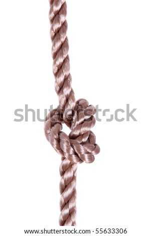Rope with tie isolated over white background - stock photo