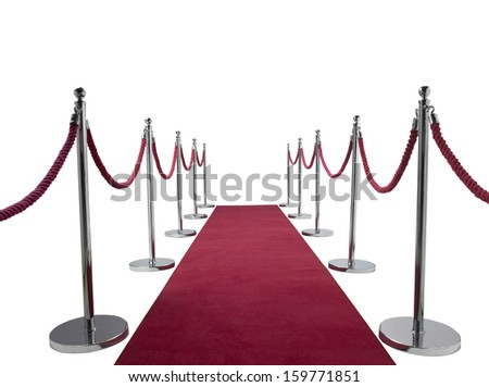 roped off Red carpet on a white background  - stock photo