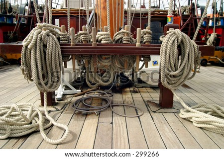 Ropes and rigging on an old ship - stock photo