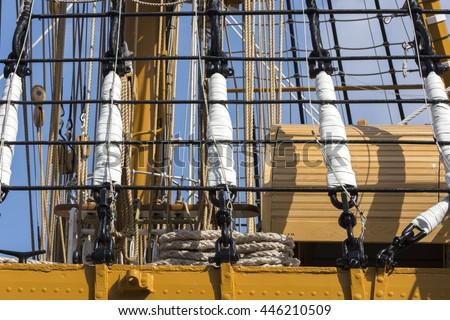 Ropes and wood on the ship Amerigo Vespucci in Italy - stock photo