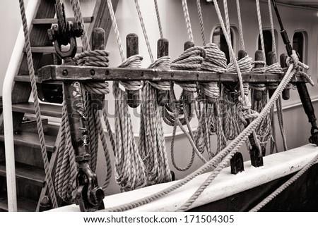 Ropes at a Sailing Ship, Detail Shot - stock photo