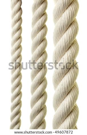 Ropes close-up isolated over white background - stock photo