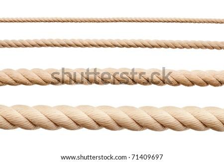 Ropes isolated on white - stock photo