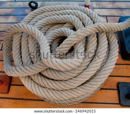 ropes on a sailboat  - stock photo