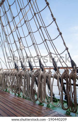ropes on an old vessel, sailing  - stock photo