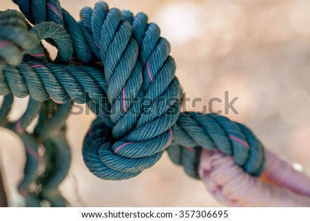 ropes on the wooden boat - stock photo