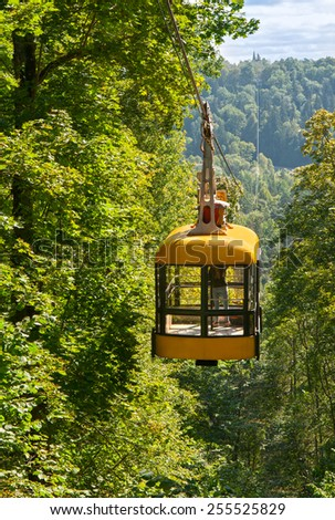 Ropeway across the river Gauja, Latvia - stock photo