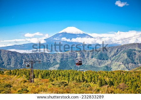 Ropeway and view of Mountain Fuji from Owakudani, Hakone. Japan. - stock photo