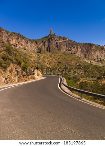 Roque Nublo and a road through the mountains of Gran Canaria