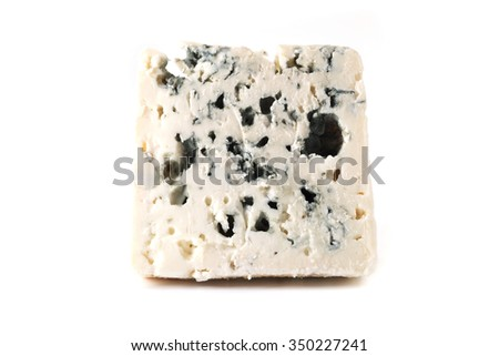 Roquefort cheese on a white background