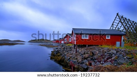 Rorbu cabins, Lofoten Islands, Svolvaer, Norway - stock photo