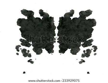 Rorschach inkblot test illustration, random abstract background. Psycho diagnostic inkblot test Rorschach, the projective Rorschach technique, or simply the inkblot test - stock photo