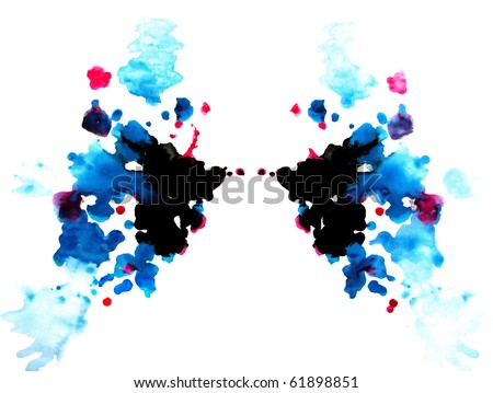Rorschach test: colorful symmetric painting - stock photo