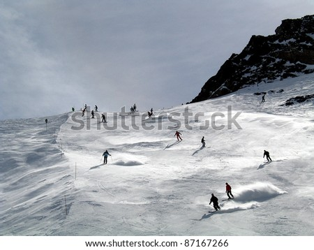 Rosael, a skirun in the high mountains of Trois Vallees, France - stock photo