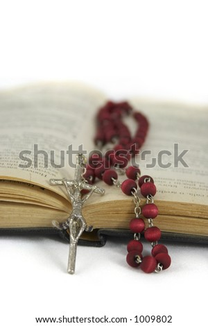 rosary and the Bible - stock photo