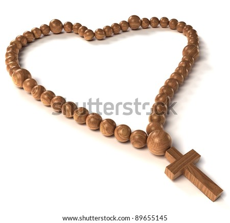 Rosary beads heart shape over white background - stock photo