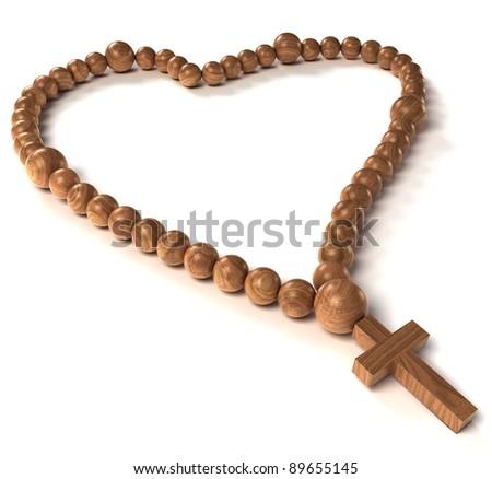 Rosary beads heart shape over white background - stock photo