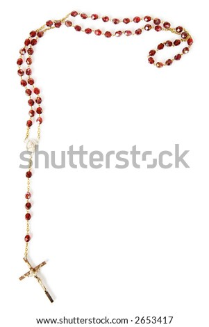 Rosary beads isolated on white - stock photo