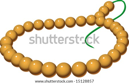 rosary. beads strung on a cord. vector illustration. isolated. white - stock photo