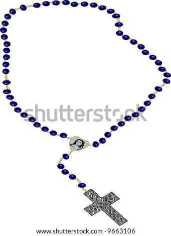 rosary clip-art illustration on white background. - stock photo