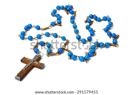 Rosary with blue beads on white background - stock photo