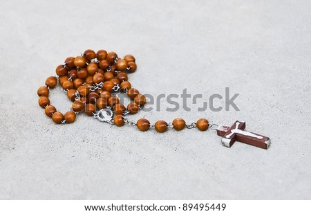 Rosary with Mary and Jesus - stock photo