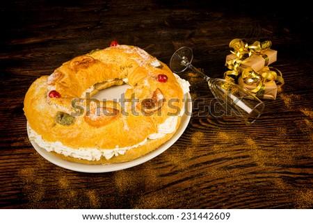Roscon de Reyes, traditional Spanish Epiphany cake - stock photo