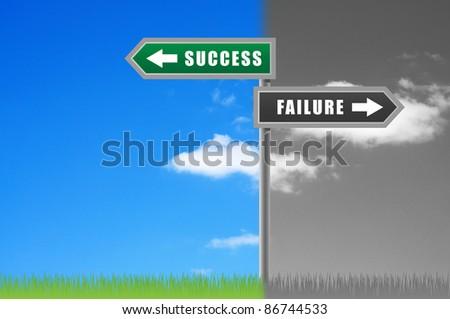 Rosd sign success failure on sky background. - stock photo