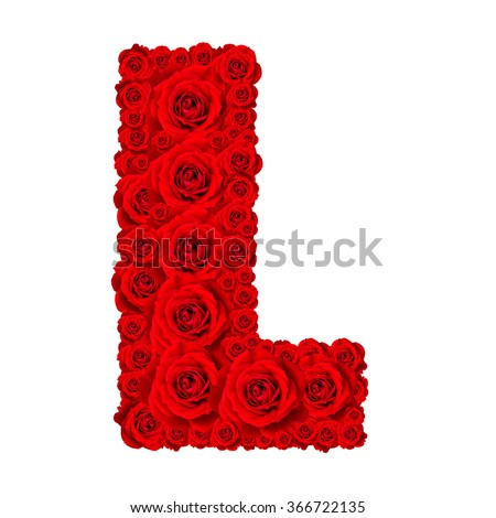 Rose alphabet set - Alphabet capital letter L made from red rose blossoms isolated on white background - stock photo