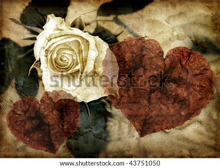 Rose and hearts in grungy image - stock photo