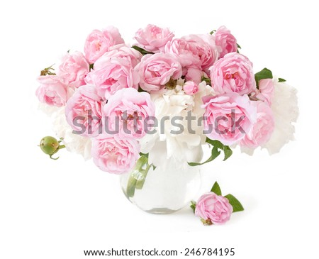Rose and peony flowers bunch isolated on white background