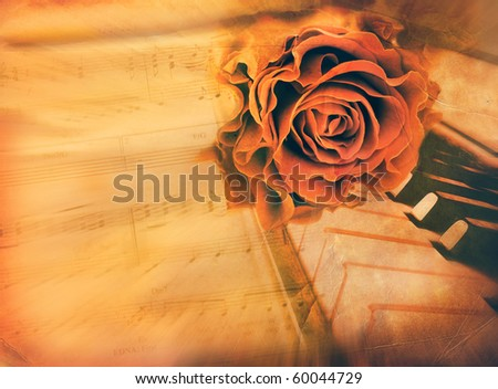 rose and piano - vintage romantic background - stock photo