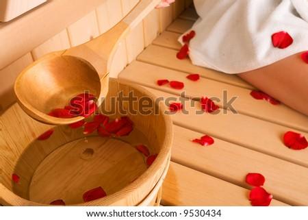 rose and sauna - stock photo