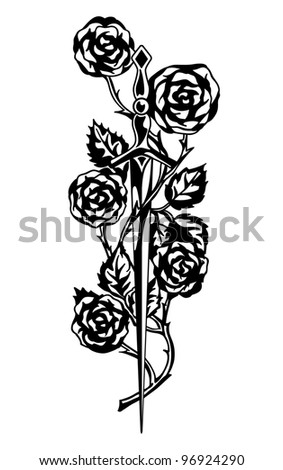 Rose and the Sword (knightly romantic paraphernalia) - stock photo