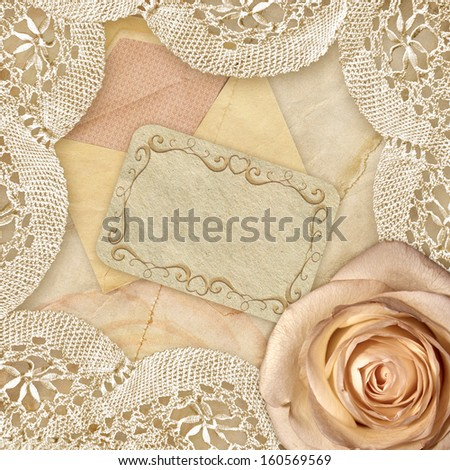 Rose and vintage lace.  Beautiful background. Greetings card. Romantic raster image. - stock photo