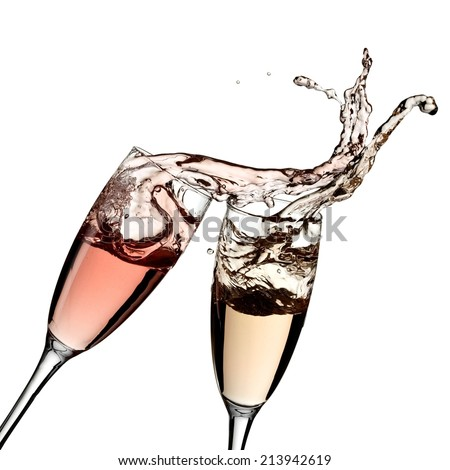 Rose and white champagne glasses up - stock photo