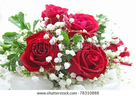 rose bouquet isolated on white using in wedding or any greeting ceremony - stock photo
