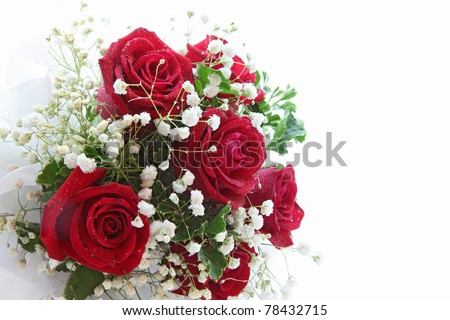 rose bouquet isolated on white using in wedding or any greeting ceremony side perspective - stock photo
