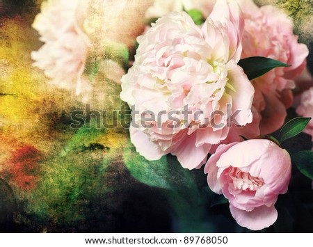 Rose bouquet on painting grunge background - stock photo
