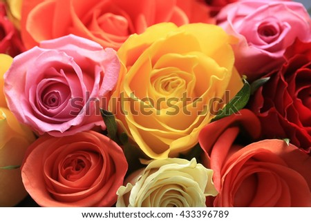 Rose bouquet with roses in pink, white, yellow and orange - stock photo