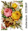 Rose bunch - circa 1890 die-cut Mother's Day greeting card illustration - stock photo