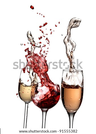 Rose champagne and red and white wine splash with drops - stock photo