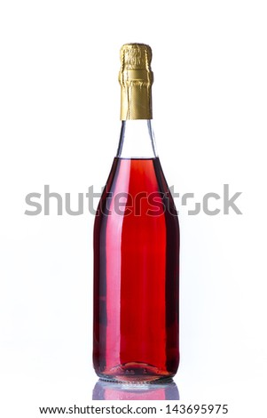 Rose champagne in white background
