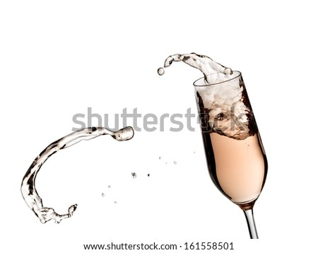 Rose champagne splash with drop