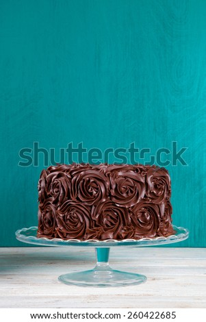 rose chocolate cake - stock photo