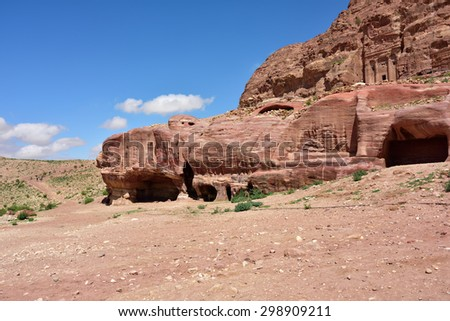 Rose city of Petra archaeological site - UNESCO world heritage site and one of The New 7 Wonders of the World. - stock photo